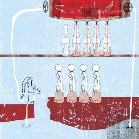 איור עיתונות - קוקה קולה מזהמת את מקורות המים בהודו.